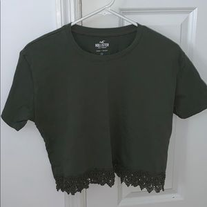 army green lacey crop top